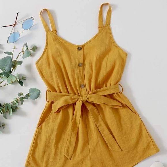 SheIn Button Front Belted Cami Romper